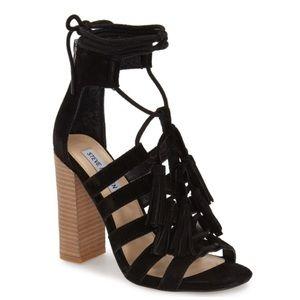 Steve Madden Tasssal Black block lace-up heels
